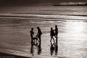 Silhouttes on the beach B & W 16 5 2015-